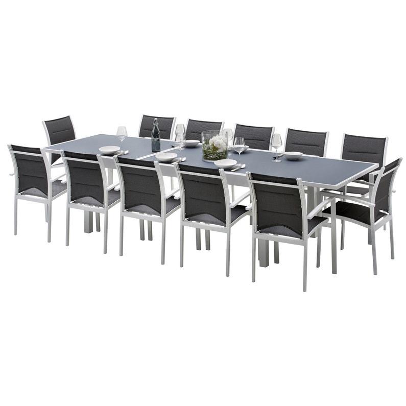 Salon de jardin Wilsa modulo t8/12 aluminium blanc, 12 personnes