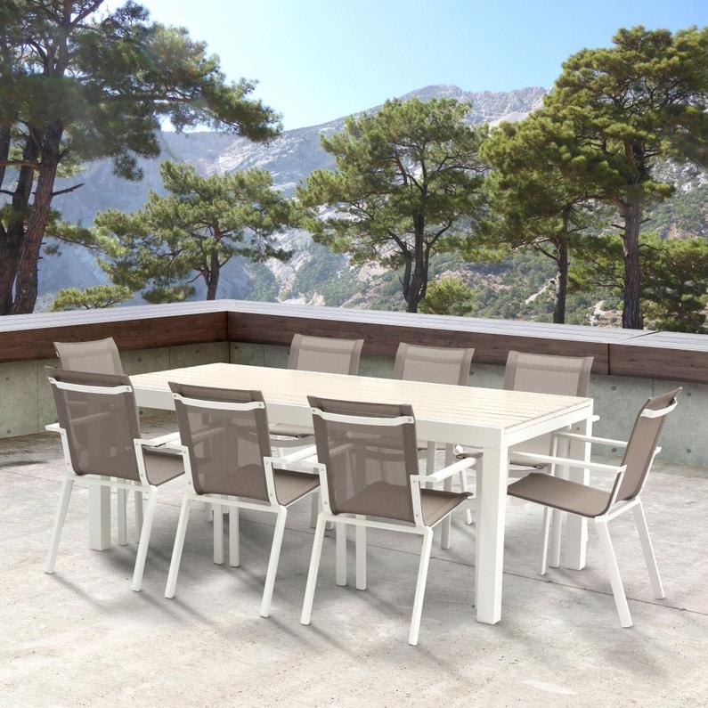 Salon de jardin Wilsa tulum t8/12 aluminium blanc, 8 personnes