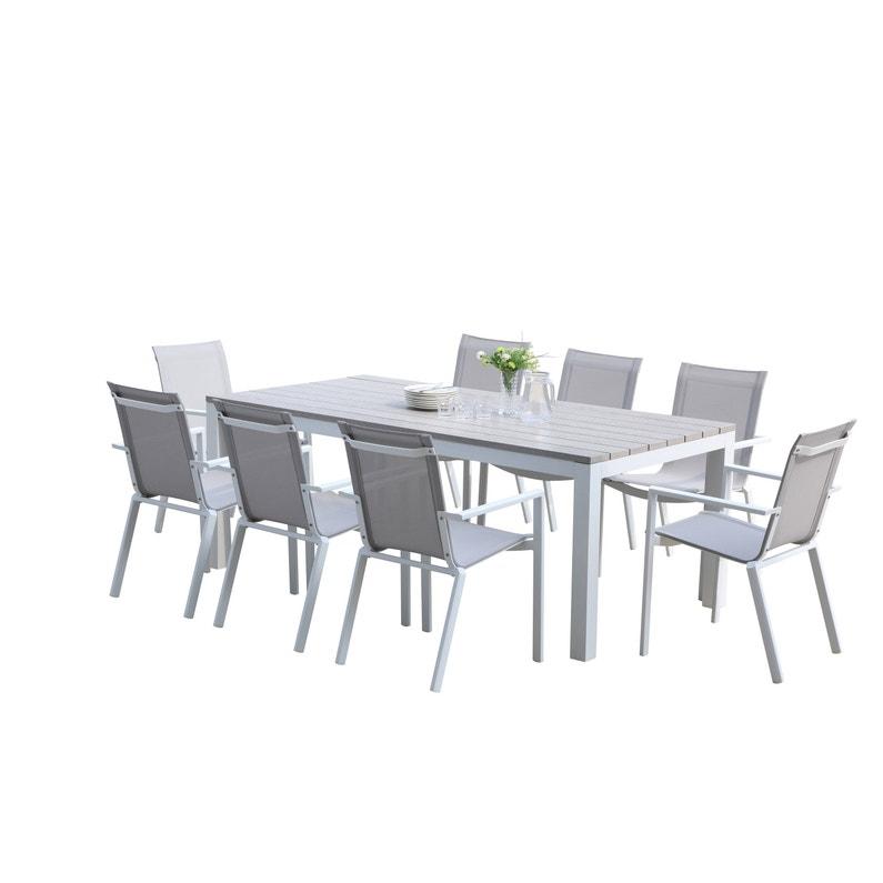 Salon de jardin Wilsa tampa fixe t8 aluminium blanc, 8 personnes