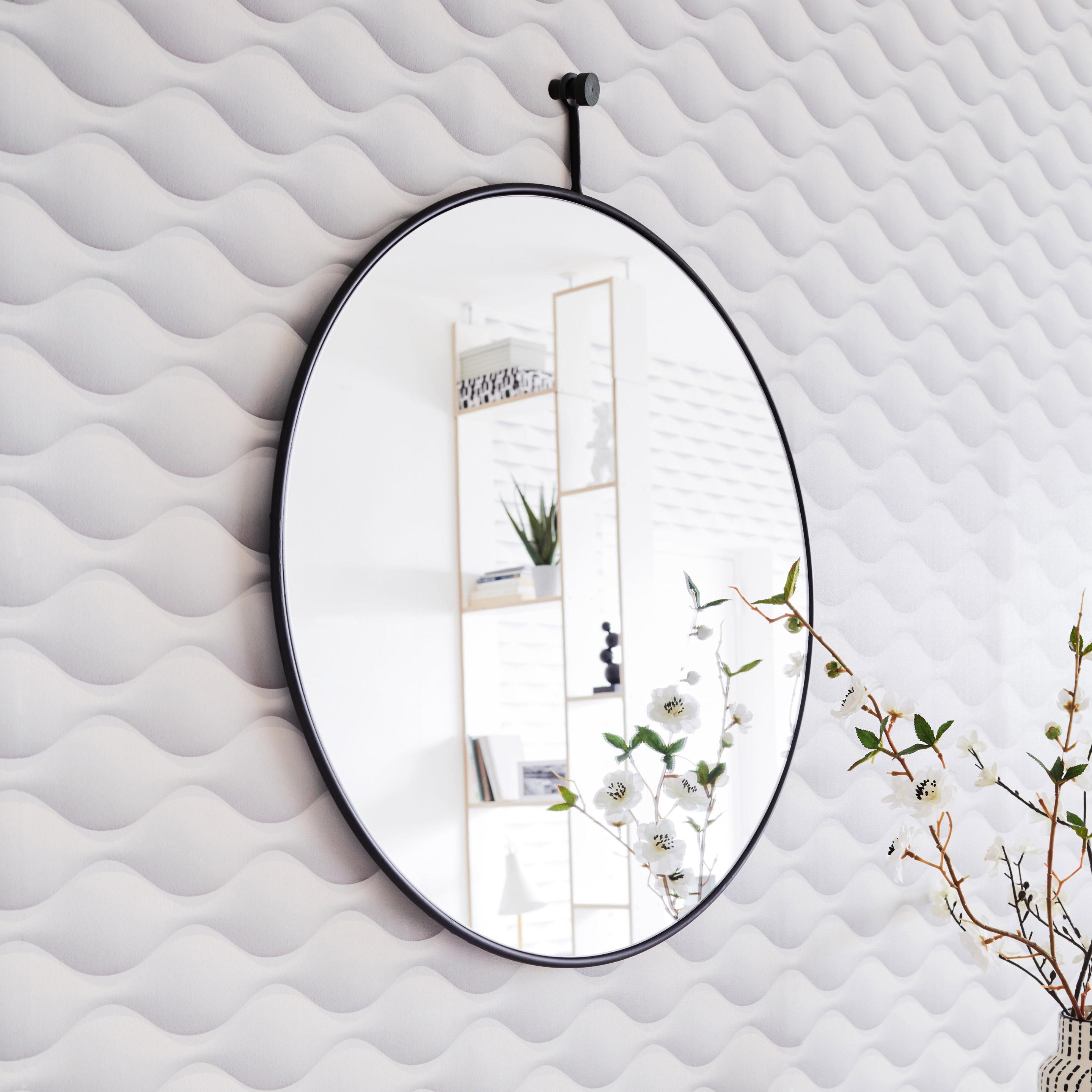 Miroir rond Patch métal, noir diam.40 cm