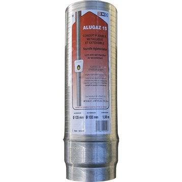 Gaine extensible alugaz diamètre 125/132 mm long. 1.50 m