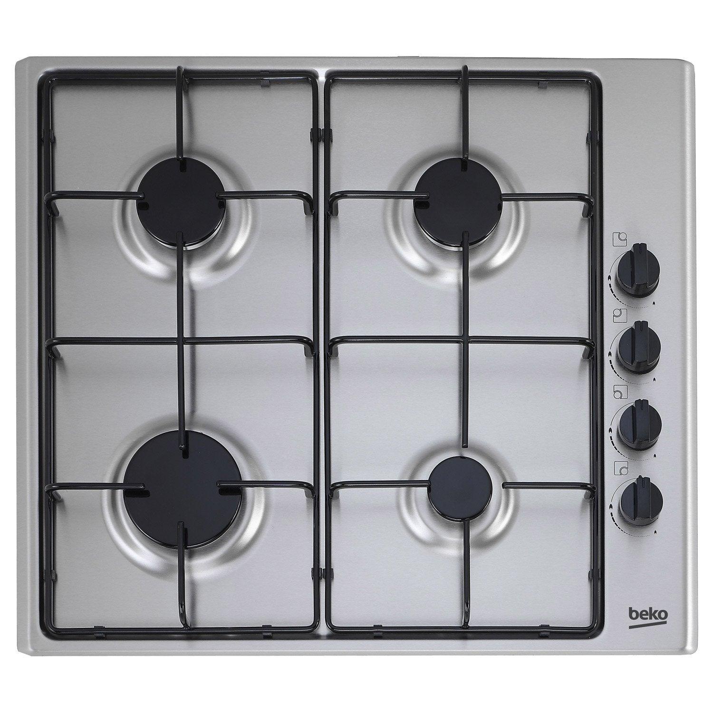 plaque de cuisson gaz 4 foyers, inox, beko hizg64120sx | leroy merlin