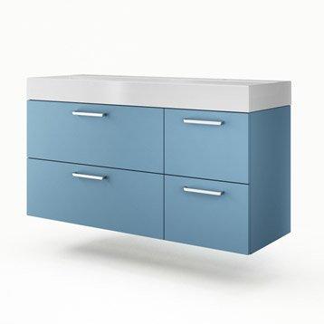 Meuble vasque l.135 x H.64 x P.48 cm, bleu, SENSEA Neo line