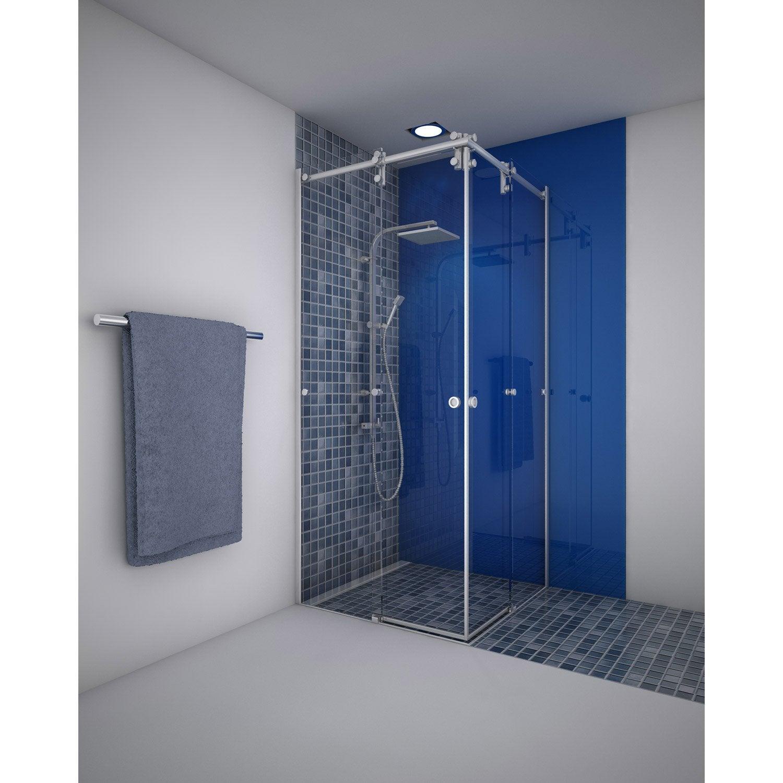 porte de douche coulissante angle carré 90 x 90 cm