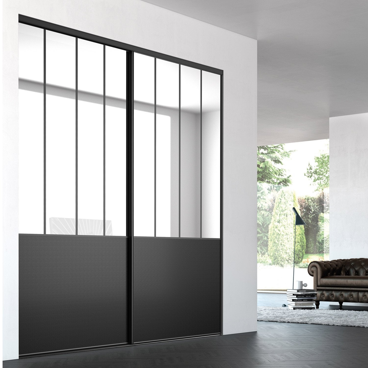 porte de placard coulissante sur mesure iliko loft de 100 1 120 cm leroy merlin. Black Bedroom Furniture Sets. Home Design Ideas