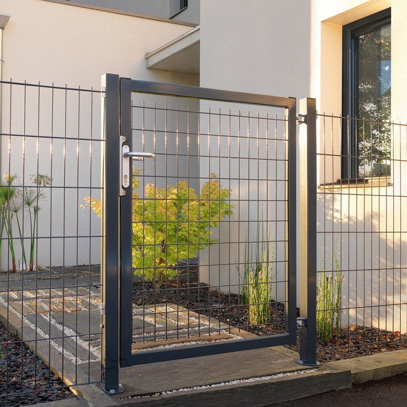 Portillon Grillagé Axor L 100 X H 100 Cm Gris Anthracite