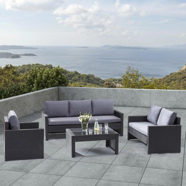 Salon bas de jardin Wilsa confort aluminium noir, 5 personnes