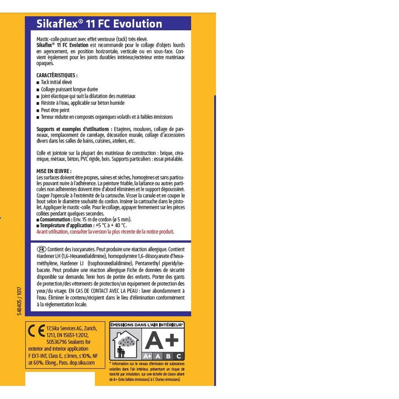Mastic Colle à Maintien Immédiat Sikaflex 11fc Evolution Blanc Sika 300 Ml