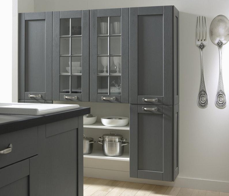 Une cuisine en bois grise leroy merlin for Cuisine agencee prix