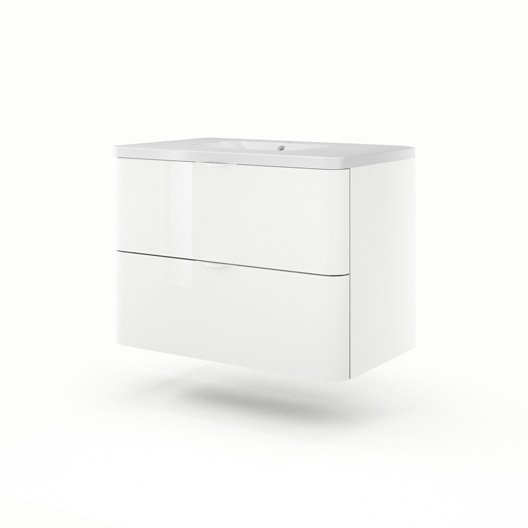 Meuble vasque x x cm blanc sensea neo for Meuble vasque 90 cm