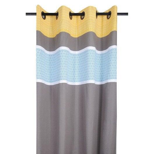 rideau tamisant rideau geok 135x260 jaune bleu 100. Black Bedroom Furniture Sets. Home Design Ideas