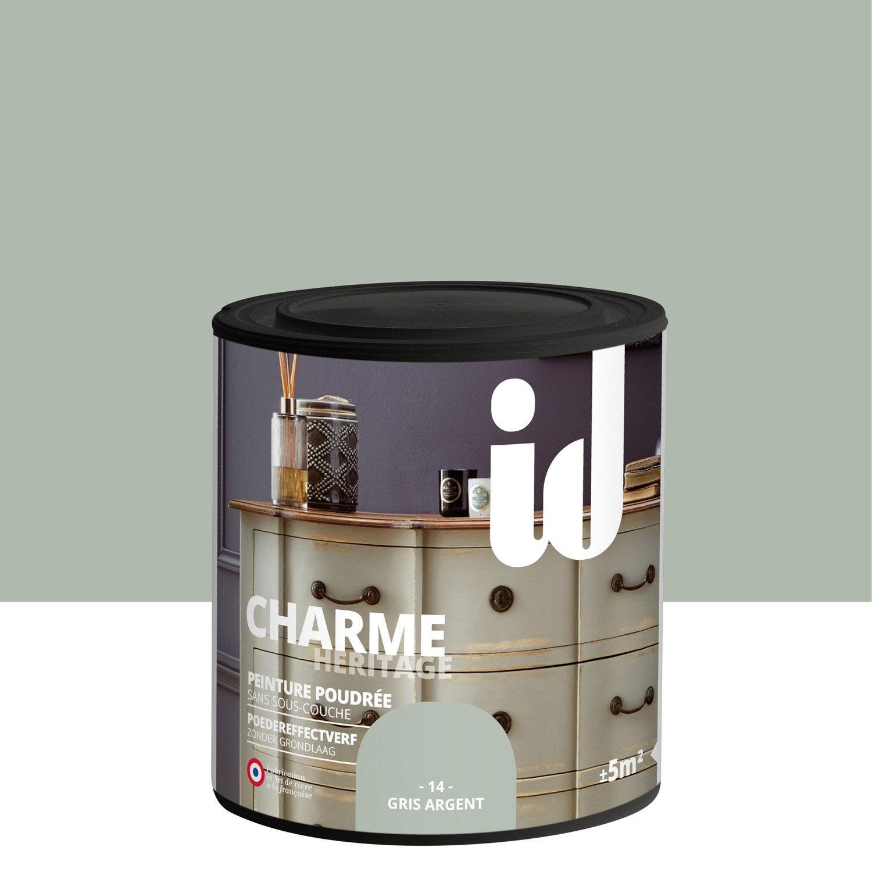 Peinture pour meuble objet et porte poudr id charme gris argent 0 5 l leroy merlin - Peinture a l ancienne pour meuble ...