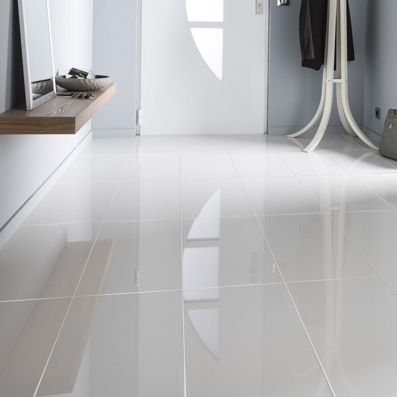 Carrelage Sol Blanc Effet Uni Crystal L X L Cm Leroy Merlin - Carrelage blanc