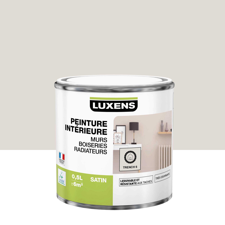 Peinture, mur, boiserie, radiateur, Multisupports LUXENS, trench 6, satin, 0.5 l