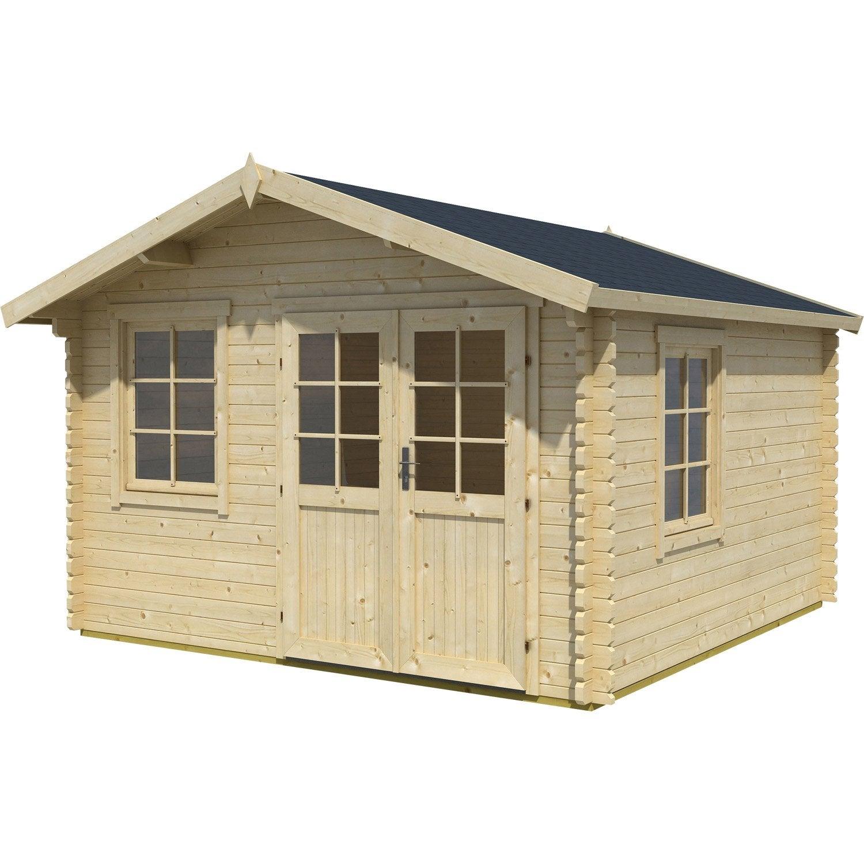 Abri de jardin bois lessebo m mm leroy merlin - Leroy merlin cabane de jardin ...