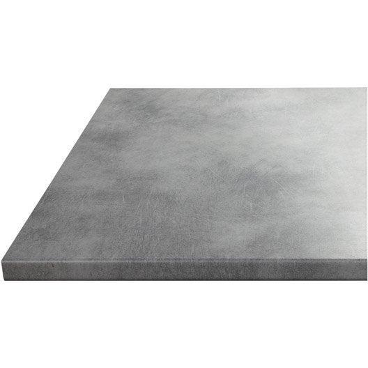 Plan de travail stratifié Effet béton Mat L.180 x P.60 cm, Ep.28 mm