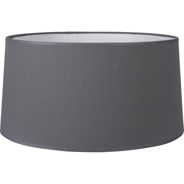 Abat-jour Drum, 50 cm, coton, gris galet n°3 INSPIRE | Leroy Merlin
