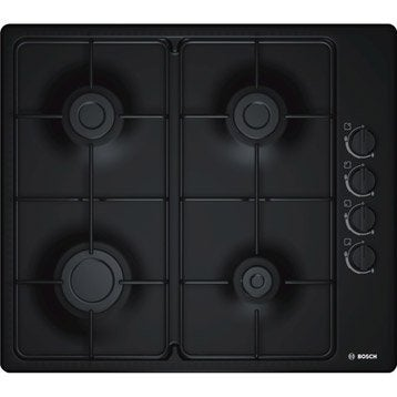Plaque de cuisson gaz 4 foyers, noir, BOSCH PBP6B6B80