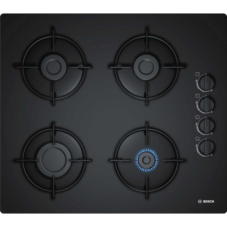 plaque de cuisson gaz 4 foyers noir bosch pop6b6b10. Black Bedroom Furniture Sets. Home Design Ideas