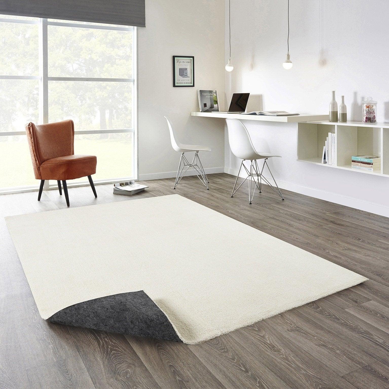 Tapis décoratif beige et blanc rectangulaire, l.160 x L.230 cm Feeling
