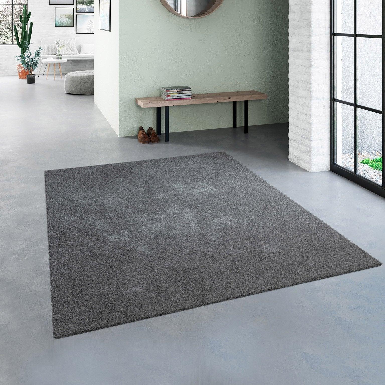 Tapis décoratif noir rectangulaire, l.200 x L.290 cm Feeling