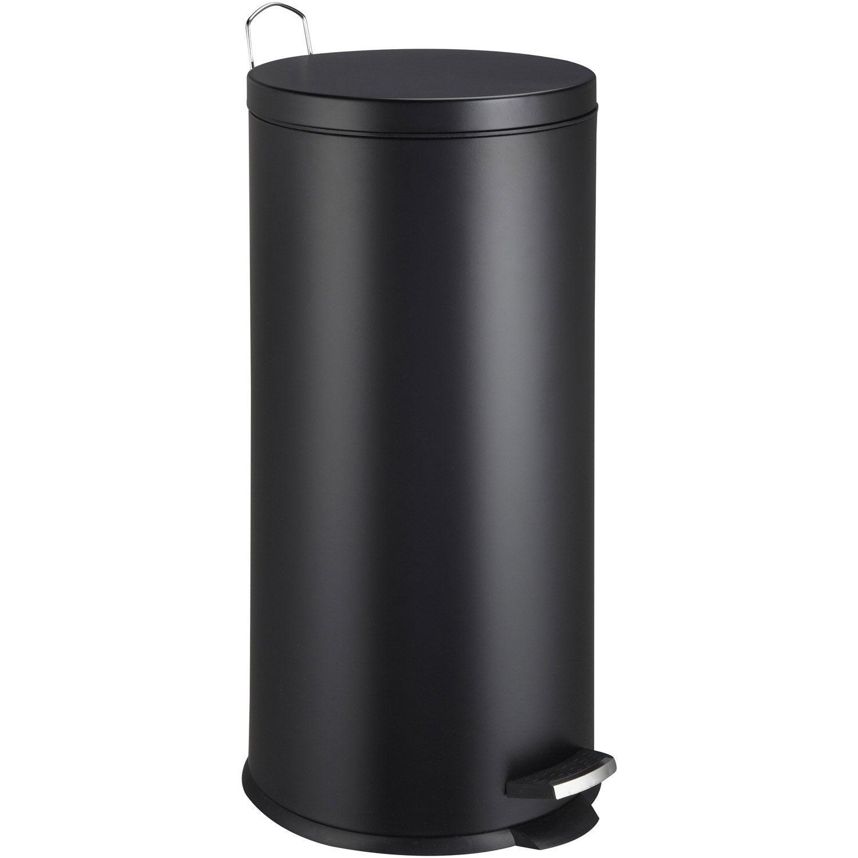 Poubelle de cuisine à pédale FRANDIS métal noir, 30 l