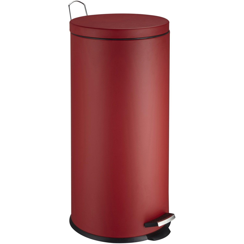 Poubelle de cuisine p dale frandis m tal rouge 30 l leroy merlin - Cuisine rouge but ...