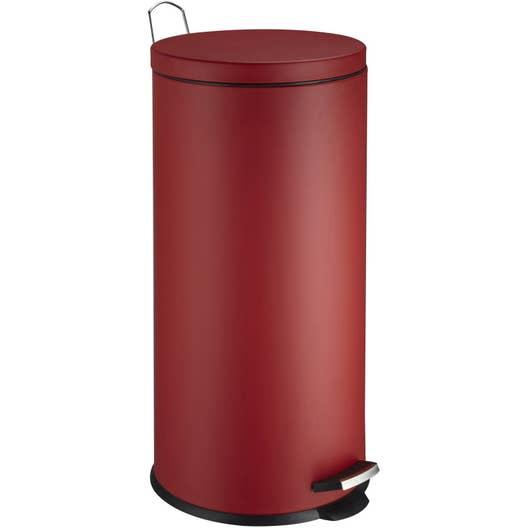 poubelle de cuisine p dale frandis m tal rouge 30 l leroy merlin. Black Bedroom Furniture Sets. Home Design Ideas