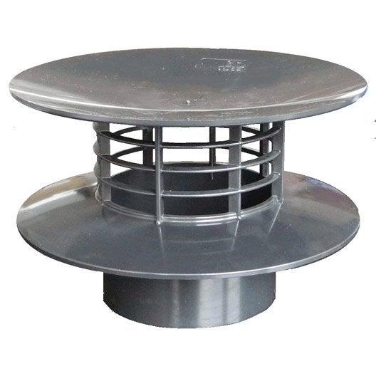 extracteur statique pvc gris ardoise first plast mm leroy merlin. Black Bedroom Furniture Sets. Home Design Ideas