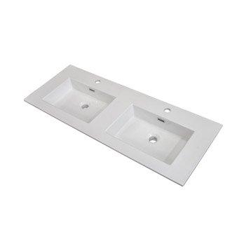 Plan vasque double Storm Céramique 121 cm