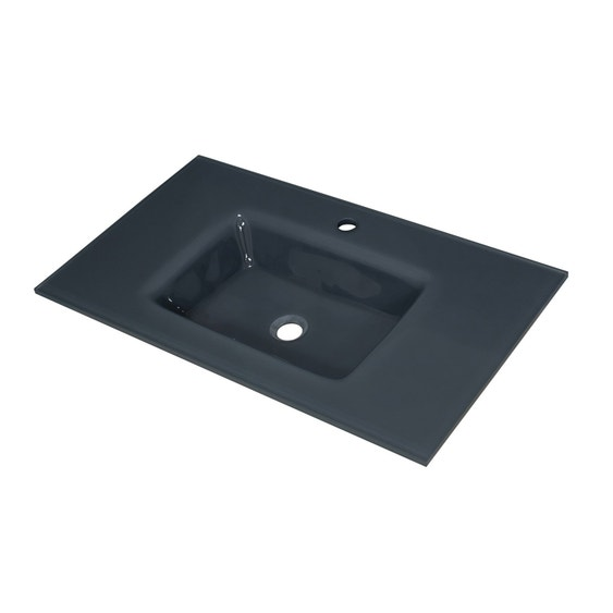 Plan vasque simple Storm Verre trempé 81 cm | Leroy Merlin