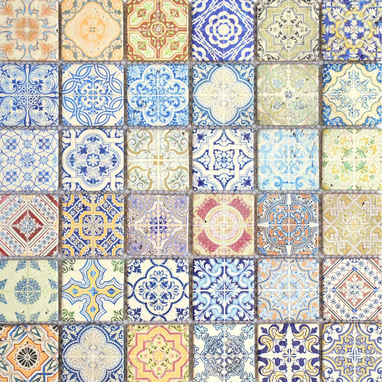 Mosaïque Mur Renaissance Décoré Multicolore 4.8 X 4.8 Cm