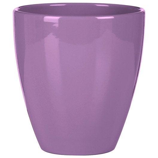 Cache-pot céramique DEROMA Diam.13.5 x H.15 cm violet   Leroy Merlin
