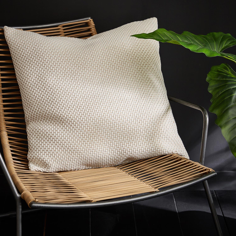 Coussin Enzo INSPIRE, beige / blanc l.60 x H.60 cm