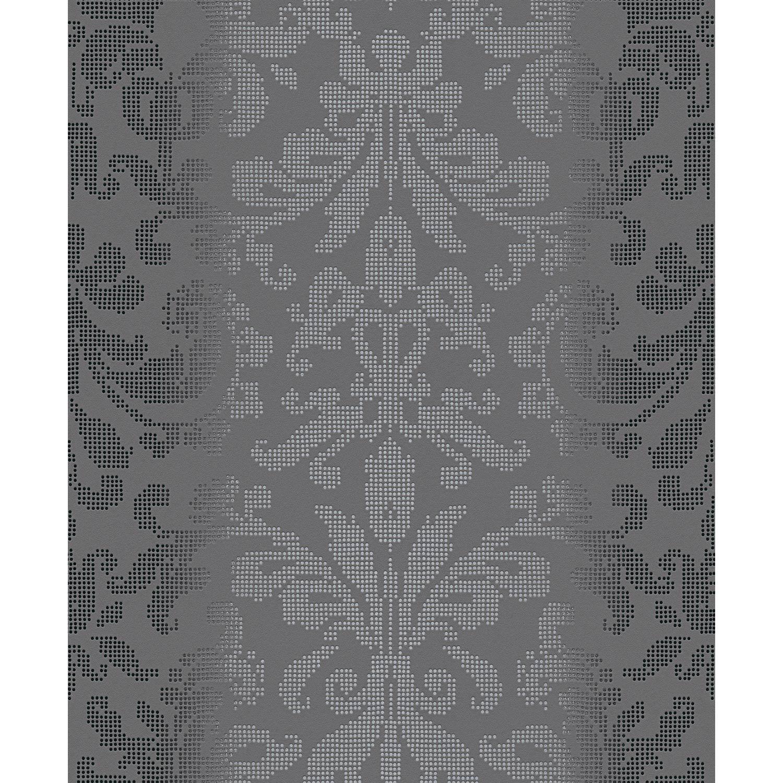 Papier peint expansé Médaillon Pixel gris