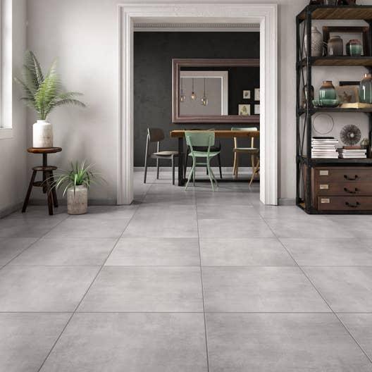 carrelage sol et mur gris effet b ton mineral x cm leroy merlin. Black Bedroom Furniture Sets. Home Design Ideas