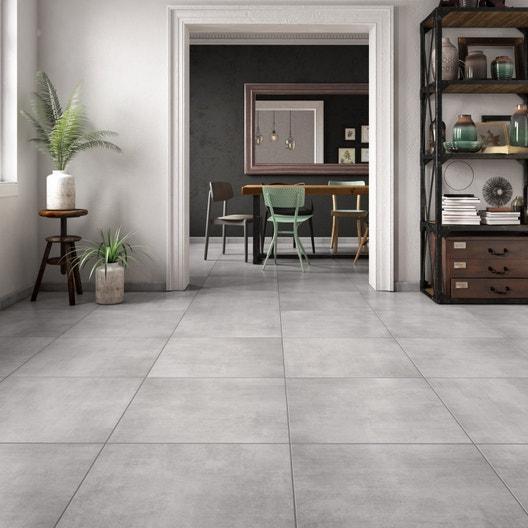 210583b215 Carrelage sol et mur intenso effet béton gris Mineral l.60 x L.60