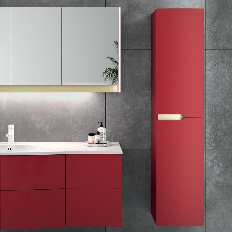 Colonne de salle de bains l.35 x H.160.3 x P.31.2 cm, rouge , Egérie