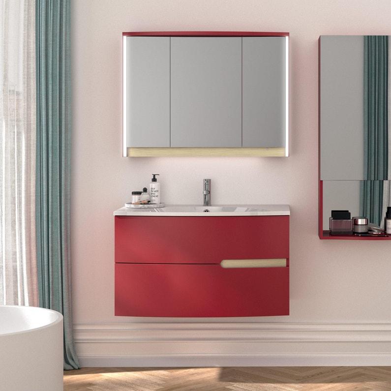 Meuble de salle de bains l.90.2 x H.53.6 x P.51.6 cm, rouge tomette ...