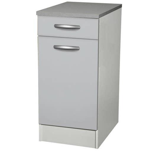 meuble de cuisine bas 1 porte 1 tiroir gris aluminium h86x l40x p60cm