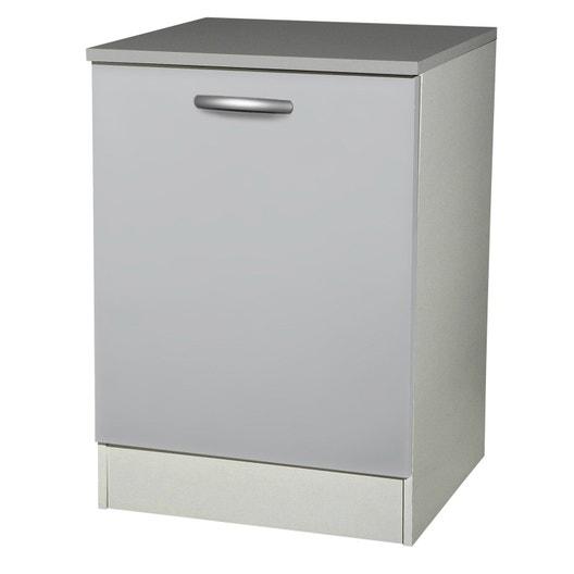 meuble de cuisine bas 1 porte gris aluminium h86x l60x p60cm leroy merlin. Black Bedroom Furniture Sets. Home Design Ideas