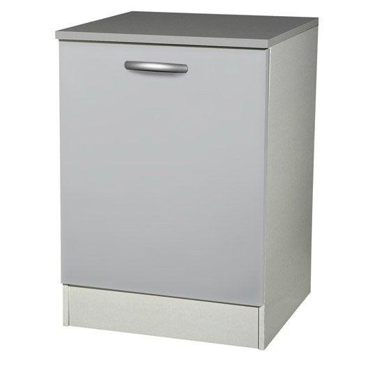 Meuble de cuisine bas 1 porte gris aluminium h86x l60x for Facade cuisine aluminium