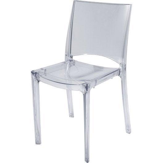 chaise paris lux transparente blanc leroy merlin. Black Bedroom Furniture Sets. Home Design Ideas