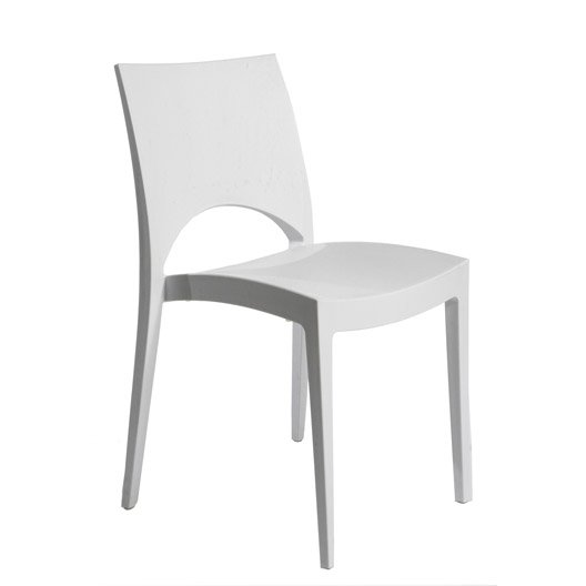 Chaise de jardin en r sine paris greenpol blanc leroy merlin - Salon de jardin plastique blanc design ...
