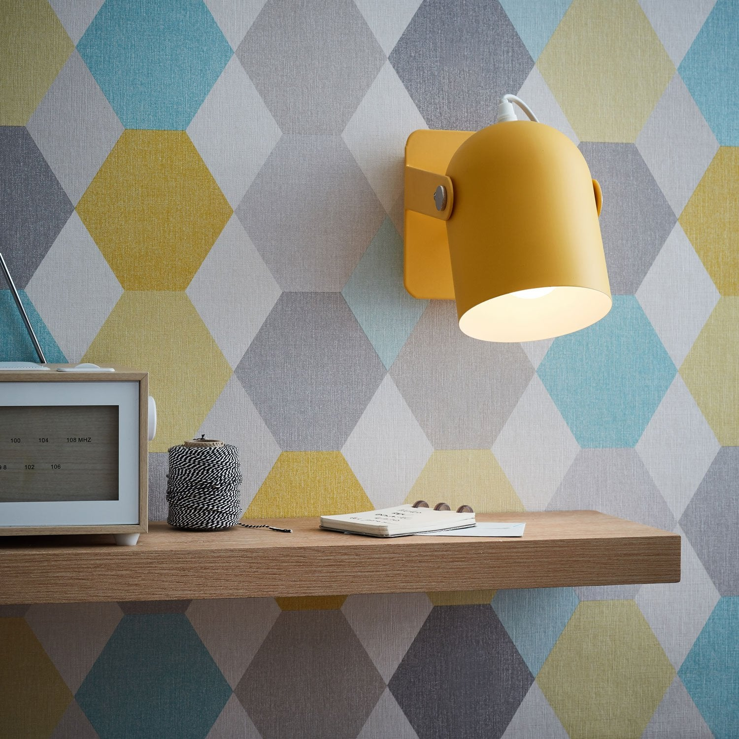 Applique, scandinave e14 Yan métal jaune, BRILLIANT