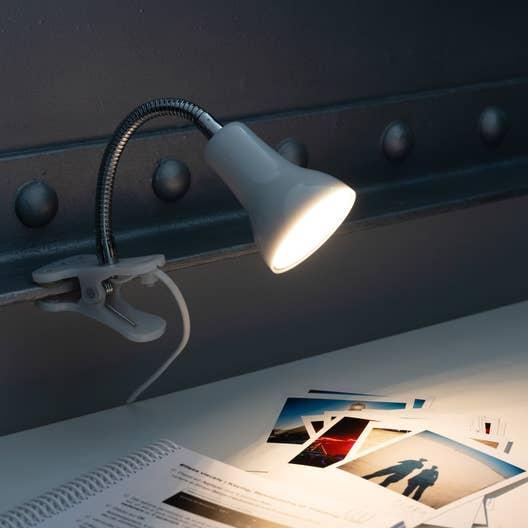 lampe de bureau gu10 pince blanc led salta inspire. Black Bedroom Furniture Sets. Home Design Ideas