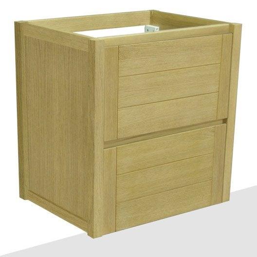 caisson meuble sous-vasque l.59.0 x h.61.5 x p.45.0 cm, marron