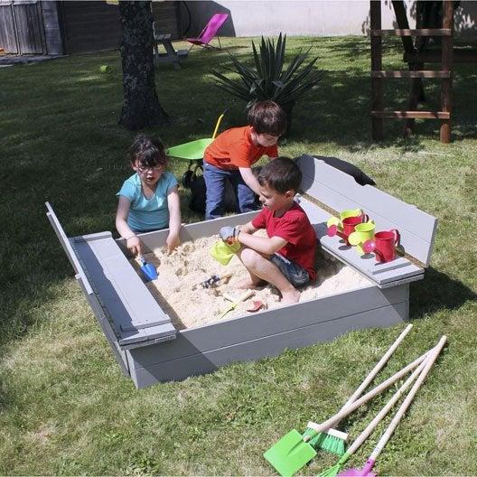 Bac à sable bois SOULET, taupe, L.135 x l.120 cm