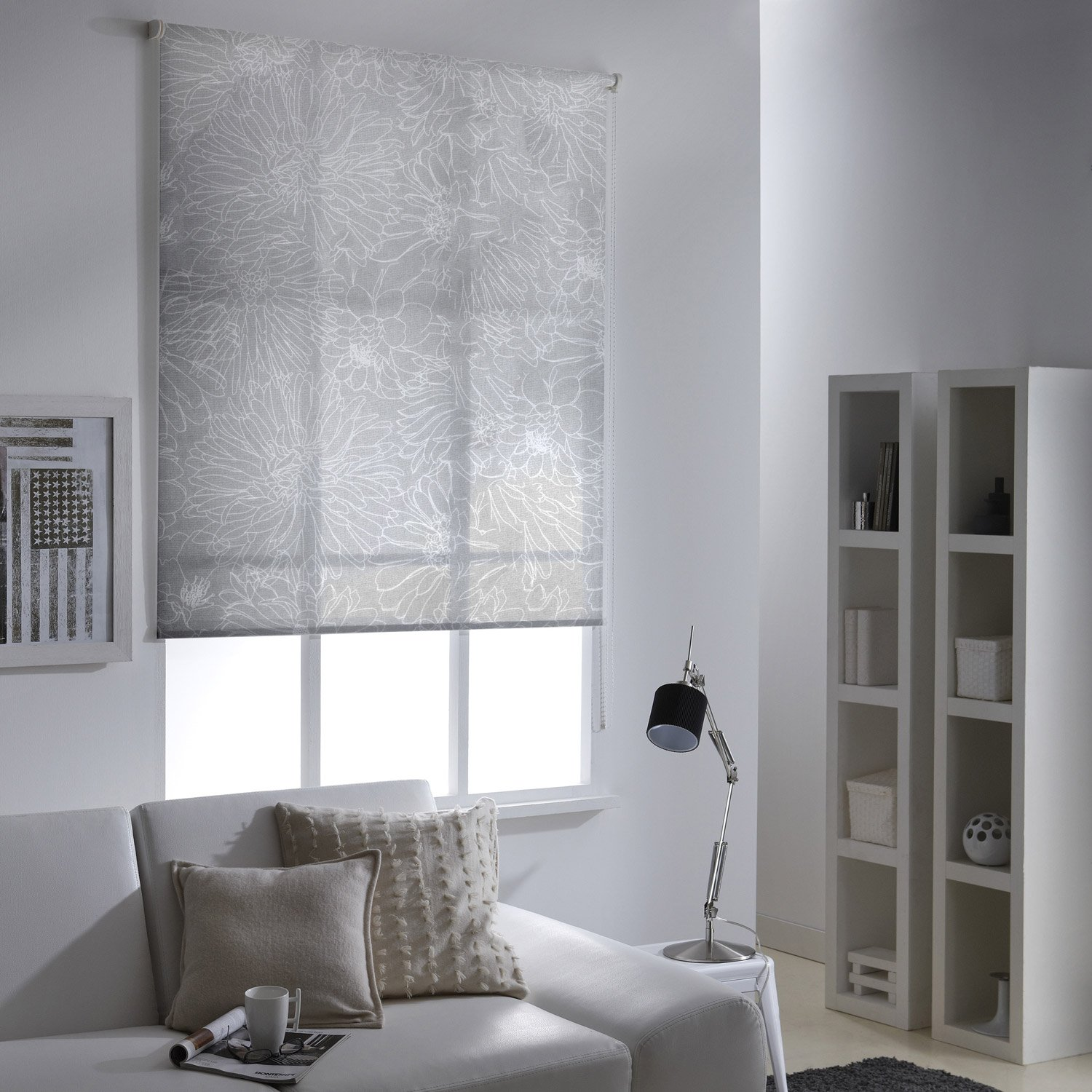 store enrouleur tamisant fleurs crayonn es blanc 125x190 cm leroy merlin. Black Bedroom Furniture Sets. Home Design Ideas