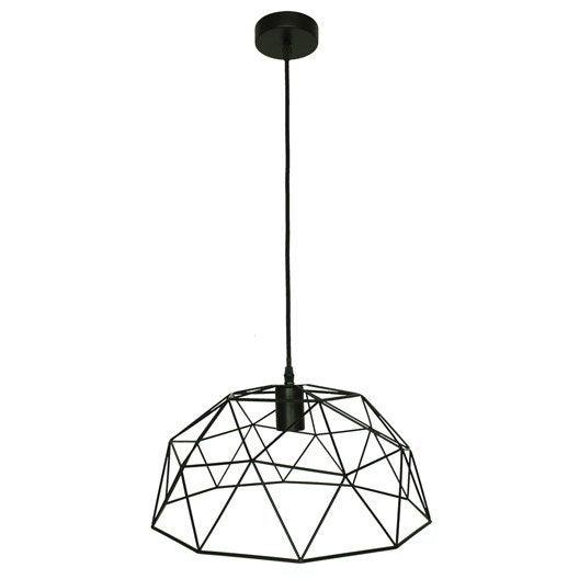 suspension e27 design wireframe m tal noir 1 x 60 w. Black Bedroom Furniture Sets. Home Design Ideas